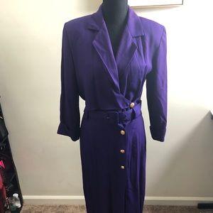 Long Purple Trench Dress